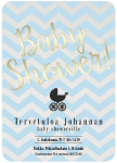 Kutsukortti, Baby Shower, Chevron Divine Blue