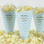 Pop Corn tötterö, omilla painatuksilla, Baby Shower, Chevron Divine Blue