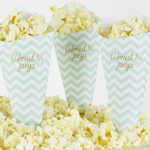 Pop Corn tötterö, Baby Shower, Chevron Divine Mint