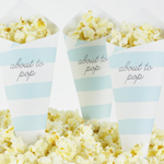 Pop Corn tötterö, Baby Shower, Raidat, vaaleansininen