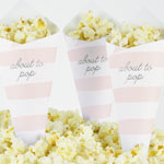 Pop Corn tötterö, Baby Shower, Raidat, vaaleanpunainen