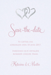 Two hearts, valkoinen  save the date -kortti